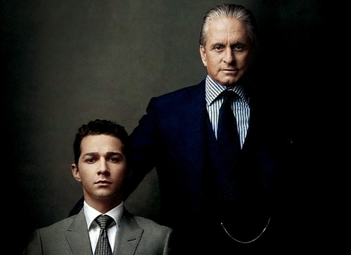 In Wall Street: Money Never Sleeps, Shia LaBeouf and Michael Douglas favor sartorial understatement, replacing the Eighties' dandy look with sleekly tailored bespoke suits in subdued gray or navy.