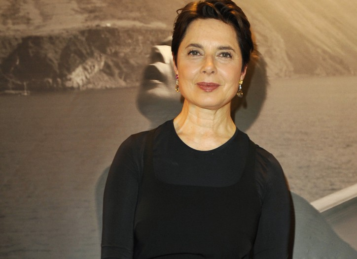 Isabella Rossellini shows off her handbag design for Bulgari.