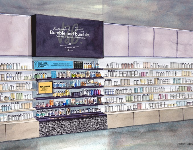 A sketch of the upcoming Bumble and bumble display at Sephora.