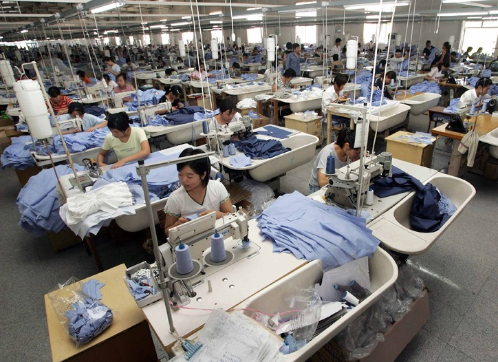 Workers at a clothing factory in Beijing.
