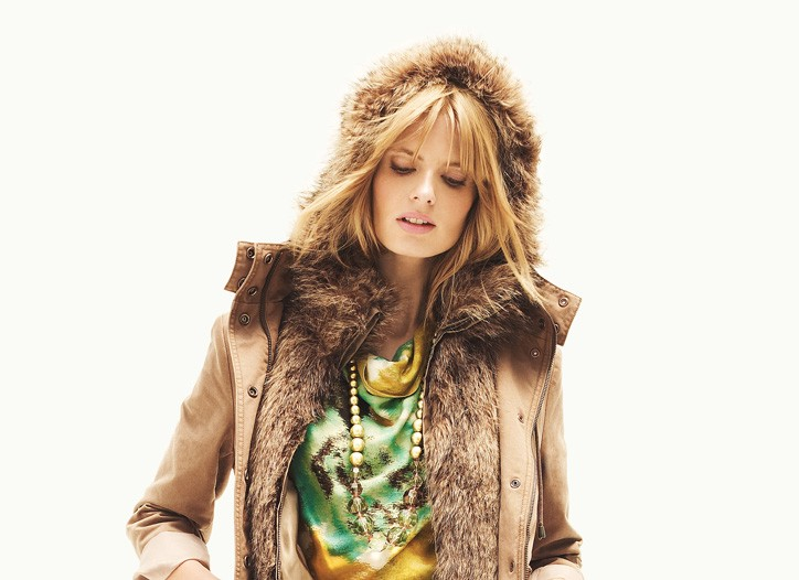 Loft was all about the mix for holiday, whether it was a sporty shearling jacket worn with a printed dress or a blazer with a ruffled blouse and faux-fur necklet.