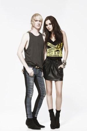 Designer Brian Lichtenberg with model Allie Crandell in one of his designs for Forever 21.