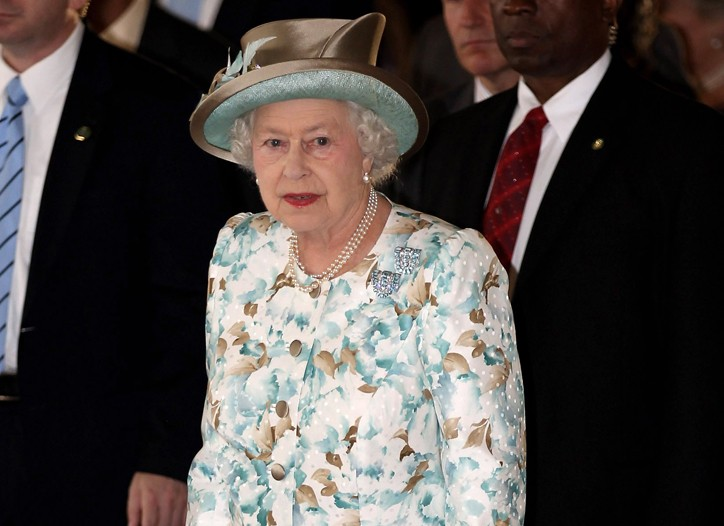 The Queen, wearing an Angela Kelly dress, jacket and hat, entering the U.N.
