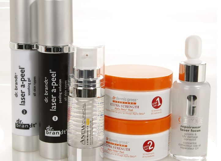 Avon Anew Clinical Luminosity Pro Brightening Serum, Clinique Repairwear Laser Focus Wrinkle Corrector,  Dr. Brandt Laser A-Peel, Dr. Denni Gross Skincare Alpha Beta Peel