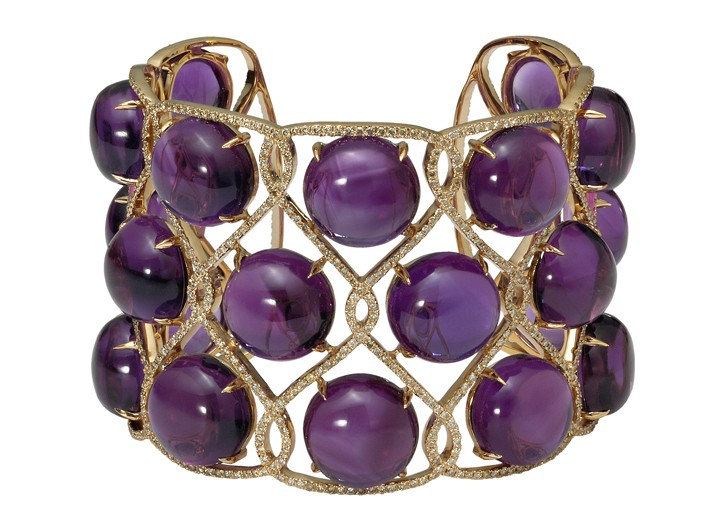 Eternamé's 18-karat yellow gold, amethyst and diamond cuff.