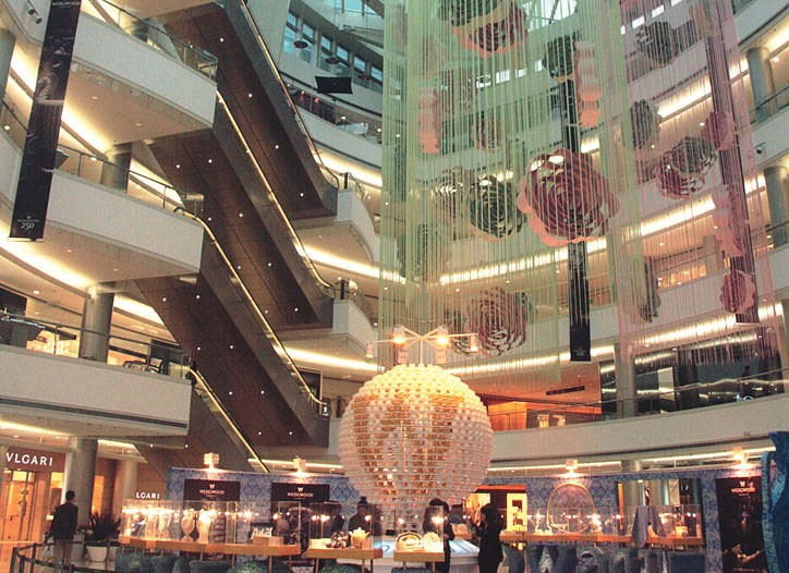 The atrium of the Plaza 66 mall in Shanghai.