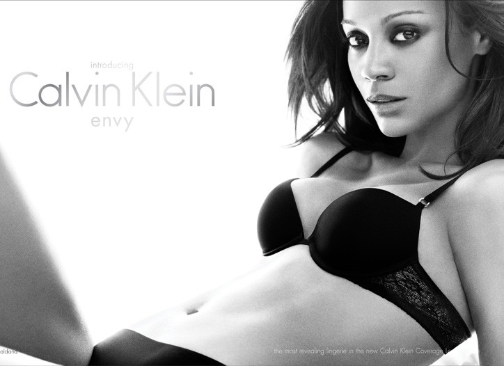 A first look at Zoe Saldana in the women's fall 2010 Calvin Klein Underwear global ad campaign.