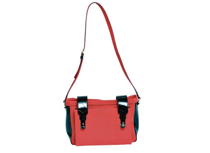 Yves Saint Laurent canvas and patent messenger bag