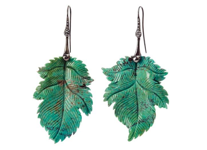 Lucifer Vir Honestus 18-karat black gold and Persian turquoise earrings