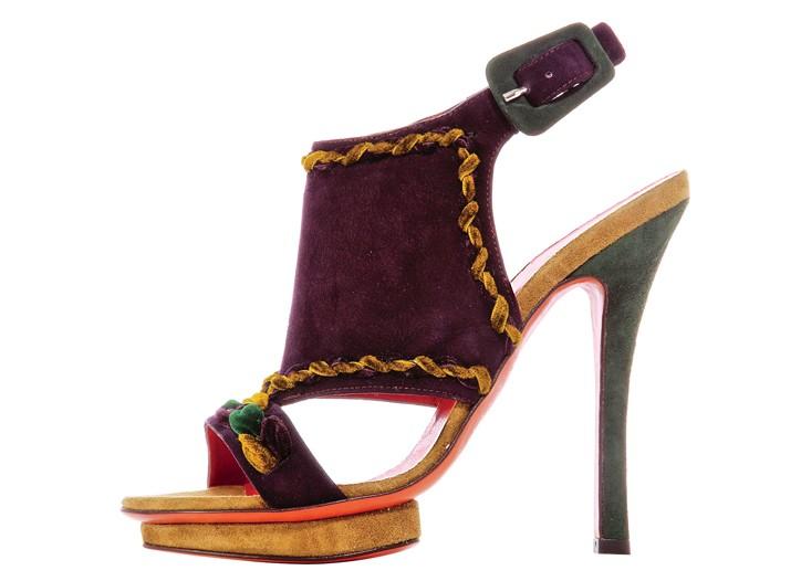 Santoni Rose Collection by Edmundo Castillo suede and velvet sandal