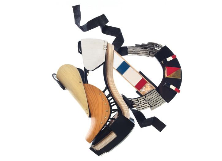 Balenciaga by Nicolas Ghesquière high pressure laminate, resin and calfskin sandal; Oscar de la Renta enamel and resin necklace