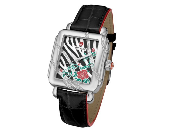 Michele stainless steel, enamel, diamond and leather watch