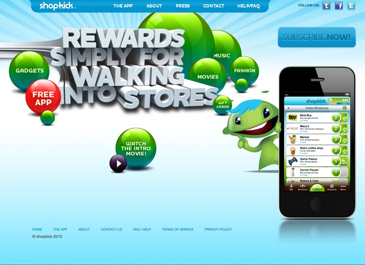 The Shopkick homepage promoting the mobile application.
