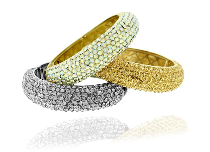 Necklace and Crystal-Encrusted Hinged Bangle Bracelets by Shoshanna Gruss