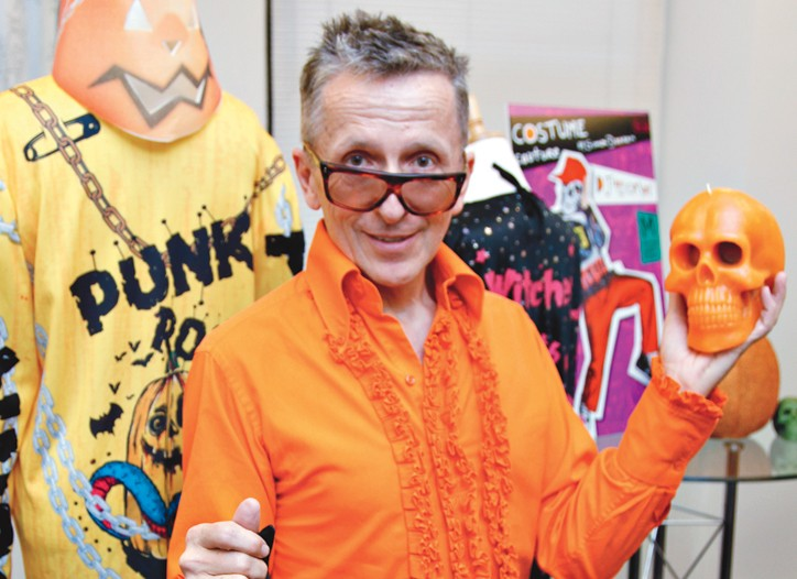 Simon Doonan with designs from his Costume Couture for Target collection.
