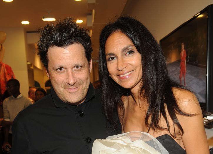 Isaac Mizrahi with Susan Fales-Hill in his design.