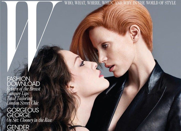 Kat Dennings and Jessica Chastain on the September W cover.