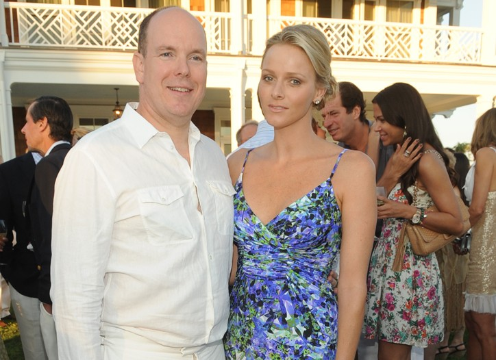 Prince Albert in Louis Vuitton with Charlene Wittstock.