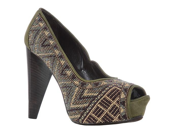 Donald J Pliner glass-beaded cotton canvas shoe