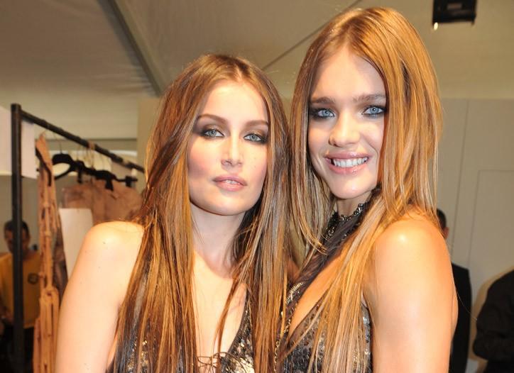 Laetitia Casta and Natalia Vodianova backstage at Roberto Cavalli