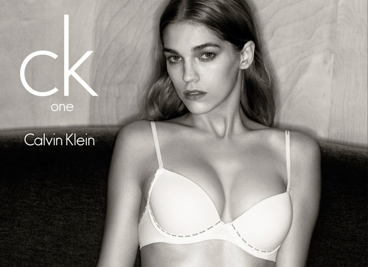 An image from ck One's global underwear campaign for spring.