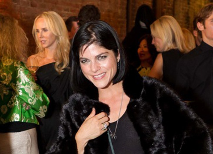 Selma Blair In a Giorgio Brato fur jacket and Haider Ackerman dress.