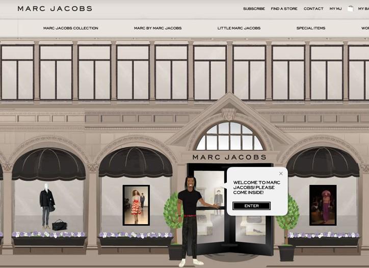 A screen shot from Marc Jacobs' website.