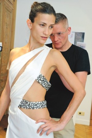 Giles Deacon prepping the Emanuel Ungaro collection.