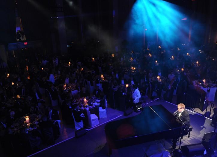 Sir Elton John performing.