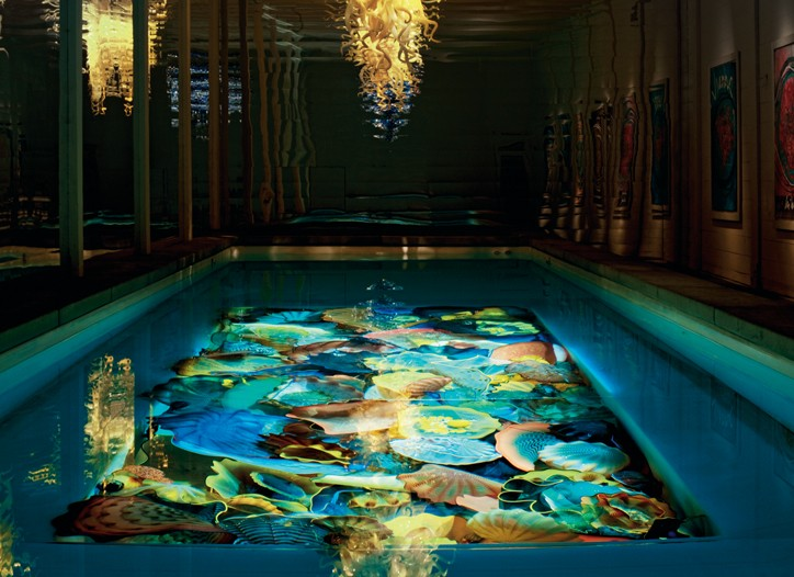 A Dale Chihuly-designed swimming pool floor.