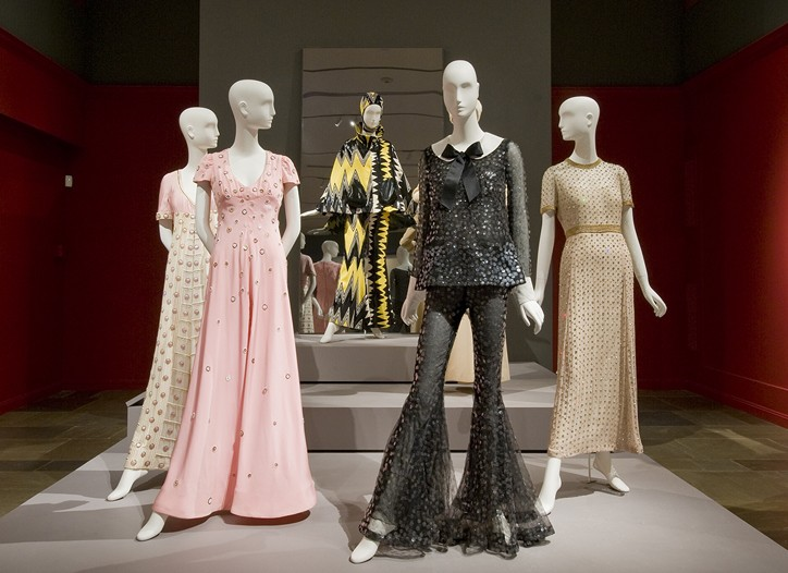 "A view of The Museum of Fine Art's new exhibit, ""Scaasi: American Couturier."""
