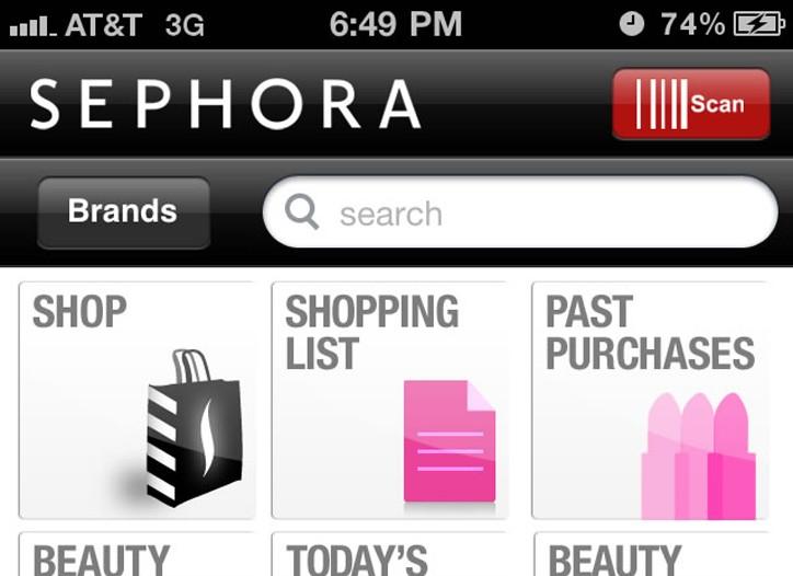 Sephora's iPhone app.