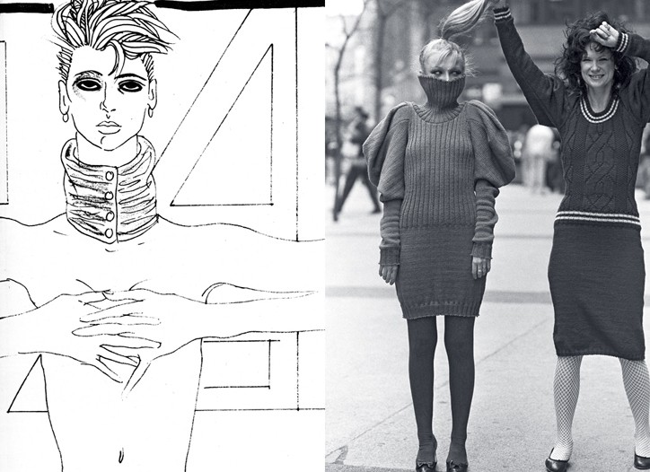 An early sketch by Steven Meisel for WWD and one of his photos for the paper from a Betsey Johnson fashion shoot.