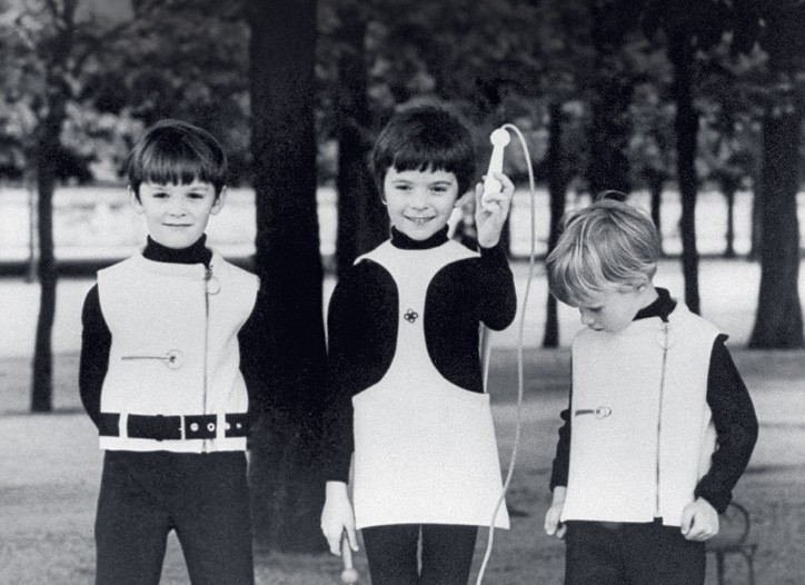 Children modeling Pierre Cardin outfits in 1967.