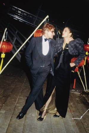 Yves Saint Laurent and Marina Schiano at the Opium launch party in 1978.