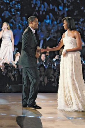 Barack and Michelle Obama, who wore Jason Wu to the Inaugural Balls, in 2009.