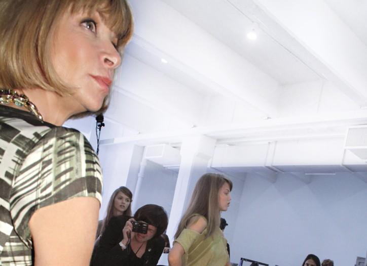 Anna Wintour backstage at Rodarte's spring show.