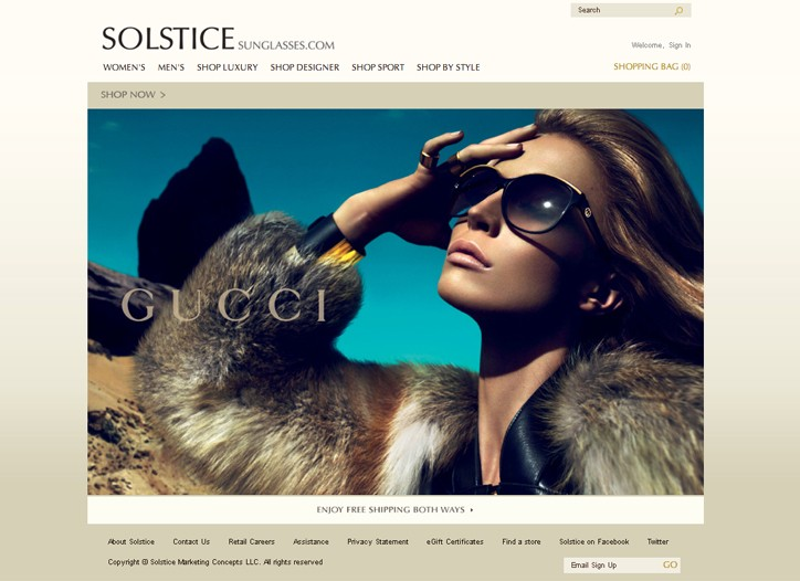 The new Solstice homepage.