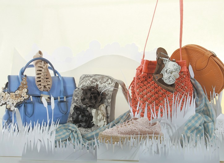 From left: Piazza Sempione necklace,  Strenesse Gabriele Strehle bag, Loeffler Randall sandal, Carlos Falchi bag, Juicy Couture's scarf, Ralph Lauren flat, Nancy Gonzalez bag, Catherine Malandrino sandal and Rebecca Minkoff bag.