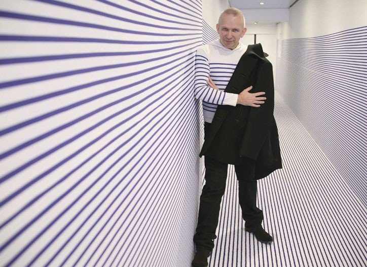 Jean Paul Gaultier and his wallpaper design for Roche Bobois.