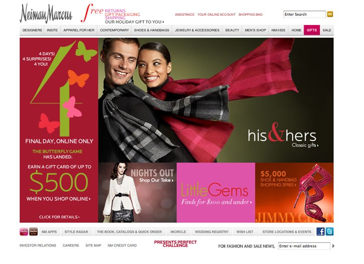 Holiday sales are up double digits over last year at Neiman Marcus.