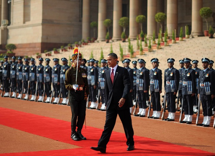 President Obama inspects a guard of honor in New Dehli on Monday.