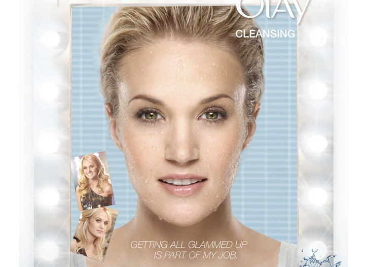 The Carrie Underwood ad for Olay's cleansing line.