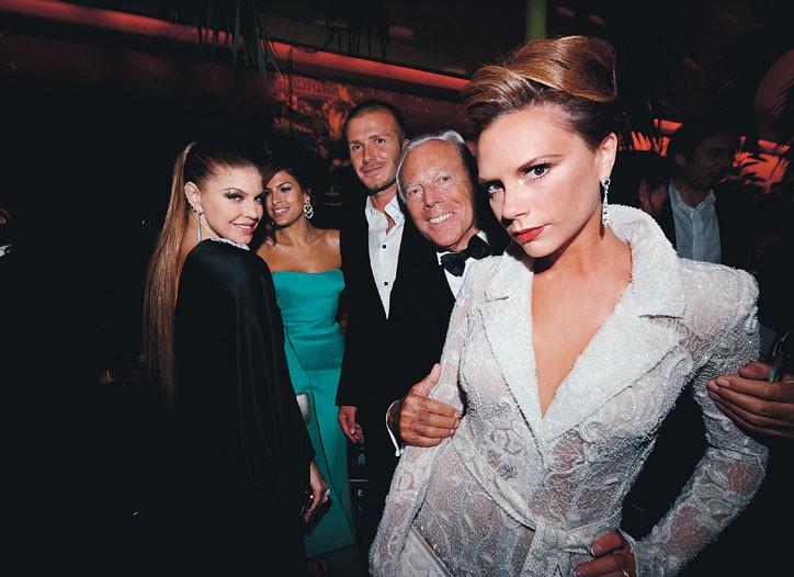 Fergie, Eva Mendes, David Beckham, Giorgio Armani and Victoria Beckham at Bungalow 8 in 2008.