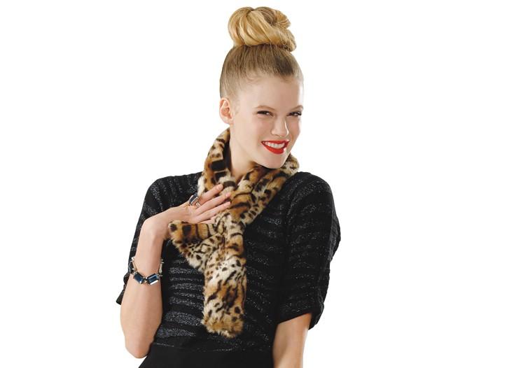 Parkhurst scarf at Lord & Taylor ($48); Worthington sweater at J.C. Penney ($30); Oscar de la Renta dress at Saks Fifth Avenue ($4,990); Chico's bracelet ($48); Valentino purse at Saks Fifth Avenue ($325); and Marc by Marc Jacob shoes at Bergdorf Goodman ($195).