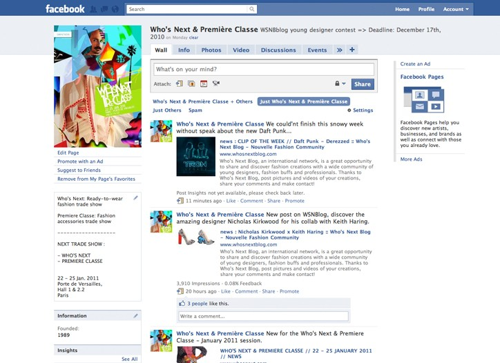 The Facebook page of Who's Next and Premiere Classe.