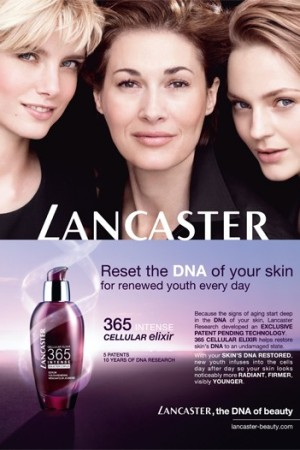 Double-page advertising for Lancaster's 365 Cellular Elixir Intense.