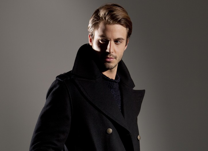 Andrew Marc's wool coat, Stone Island's cotton sweater and Z Zegna cotton denim jeans