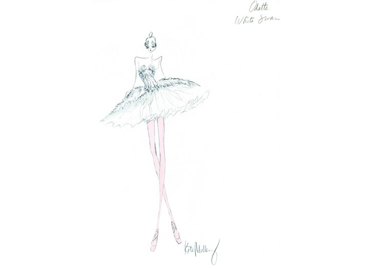 """An exclusive costume sketch by Rodarte designers Kate and Laura Mulleavy for Darren Aronofsky's """"Black Swan."""""""