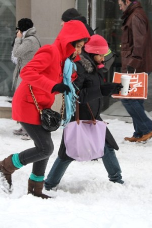 Shoppers tread lightly in Manhattan on Monday.